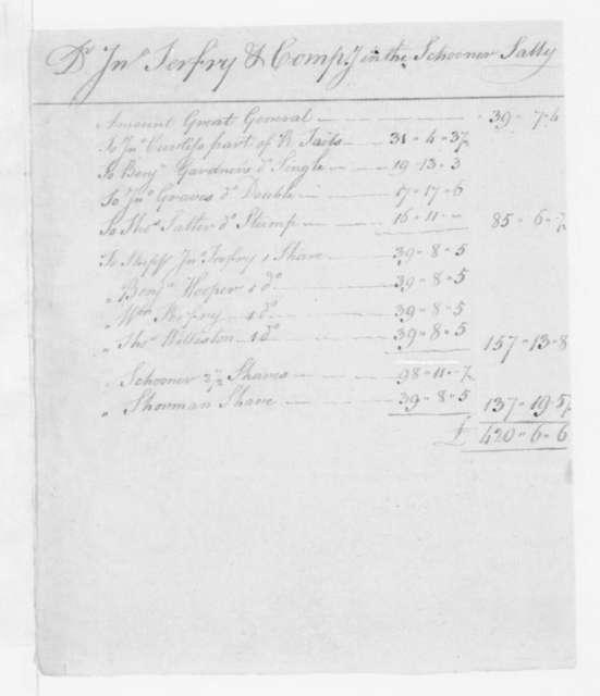 John Terfry & Co to Burrill Devereaux, June 27, 1793. Accounts-Schooner Sally.