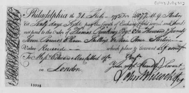 John Wilcox to Thomas Pinckney, July 31, 1793, Draft