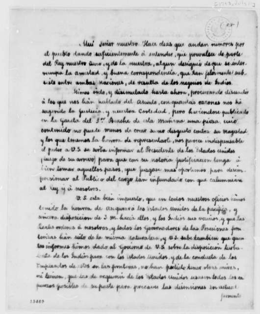 Josef de Viar and Josef de Jaudenes to Thomas Jefferson, July 11, 1793, in Spanish with Translation