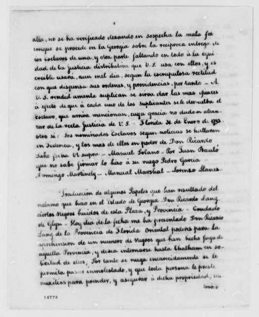 Juan Nepomuceno de Quesada to James Seagrove, February 20, 1793, in Spanish with Memo