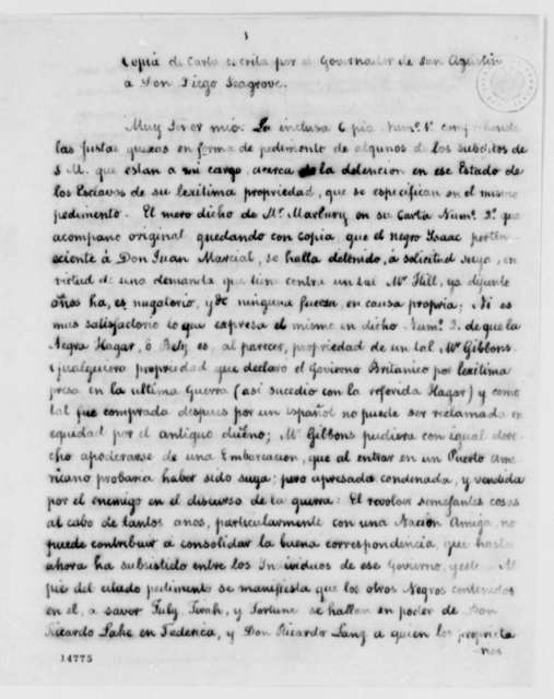 Juan Nepomuceno de Quesada to James Seagrove, February 20, 1793, in Spanish with Memo