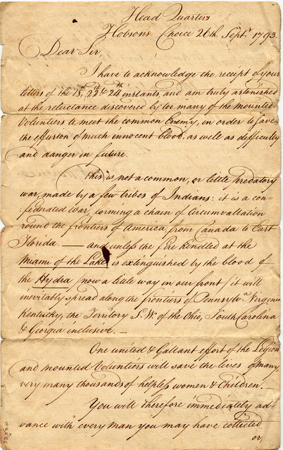 Letter from Anthony Wayne to Charles Scott