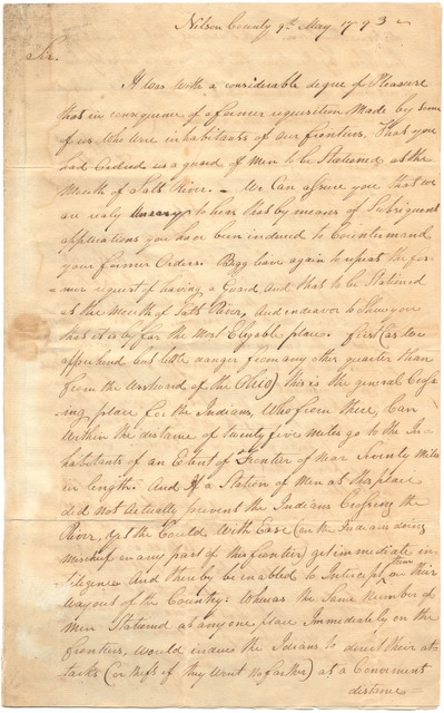 Letter from Edward Thomas to Isaac Shelby with a petition