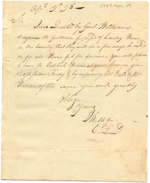 Letter from J. Webb to Isaac Shelby with Shelby's draft of a letter to the inhabitants of Salt River