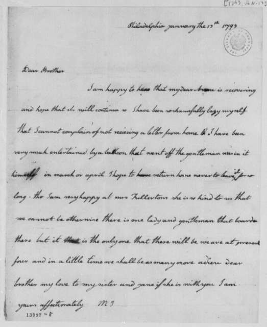 Mary Jefferson to Thomas Mann Randolph, Jr., January 13, 1793