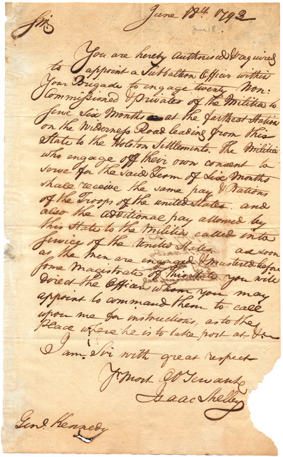 Military orders from Isaac Shelby to General [Thomas] Kennedy