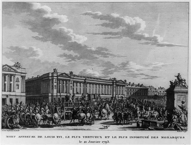 Mort affreuse de Louis XVI, le plus vertueux et le plus infortuné de monarques, le 21 janvier 1793 / Swébach Desfontaines, inv. & del. ; Berthault, sculpts.