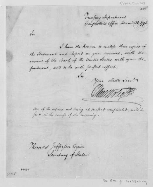 Oliver Wolcott to Thomas Jefferson, December 31, 1793, Statement
