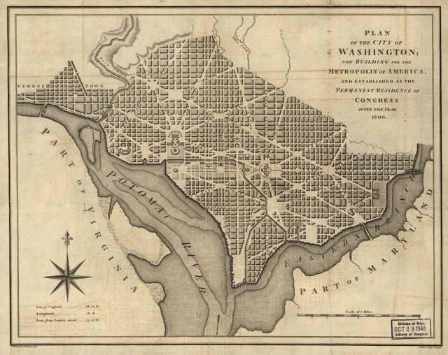 Plan of the city of Washington : now building for the metropolis of America, and established as the permanent residence of Congress after the year 1800 /