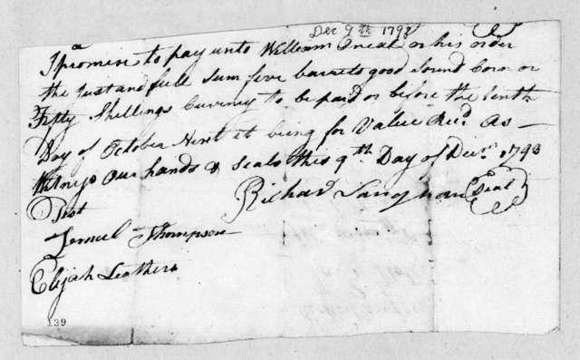 Richard Langhorn to William O'Neal, December 9, 1793