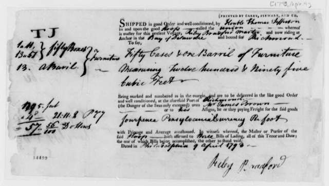 Riley Bradford to Thomas Jefferson, April 9, 1793, Shipping Receipt