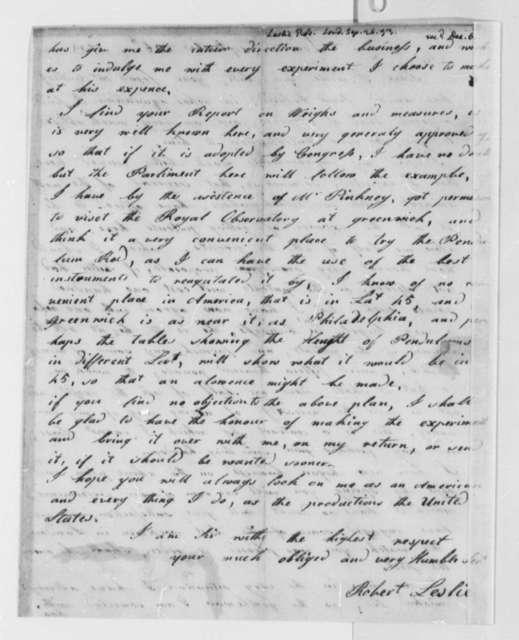 Robert Leslie to Thomas Jefferson, September 26, 1793