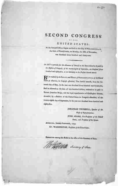 Second Congress of the United States: At the second session, begun and held at the City of Philadelphia, in the State of Pennsylvania, On Monday, the fifth of November, one thousand seven hundred and ninety-two. An act to provide for the allowan