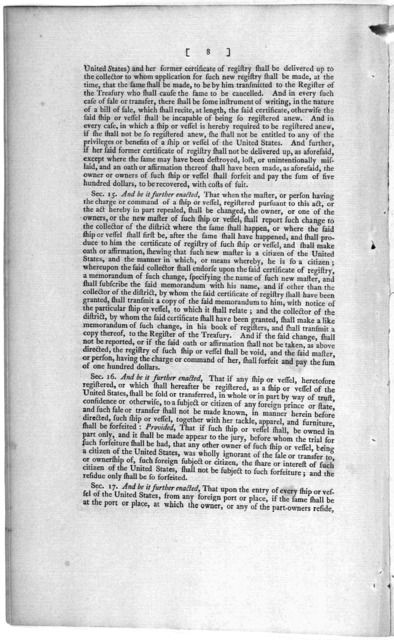 Second Congress of the United States: At the second session, begun and held at the City of Philadelphia, in the State of Pennsylvania, on Monday, the fifth of November, one thousand seven hundred and ninety-two. An act concerning the registering
