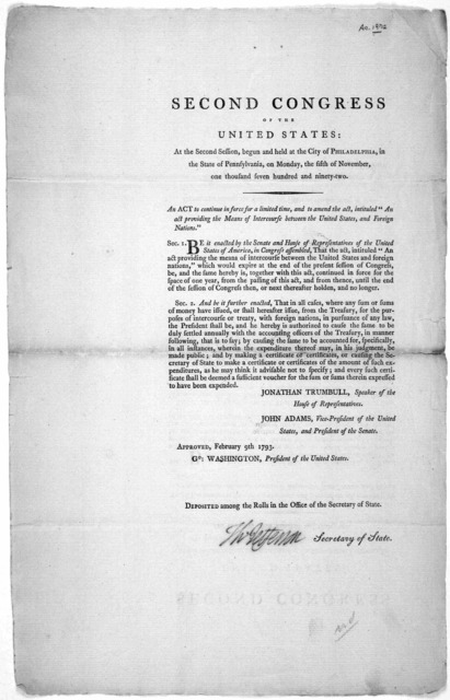 Second Congress of the United States: At the second session, begun and held at the City of Philadelphia, in the state of Pennsylvania, on Monday, the fifth of November, one thousand, seven hundred and ninety-two. An act to continue in force for