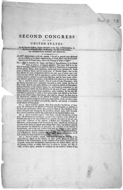 Second Congress of the United States: At the second session begun the held at the City of Philadelphia, in the State of Pennsylvania, on Monday, the fifth of November, one thousand seven hundred and ninety-two. An act supplementary to the act, e