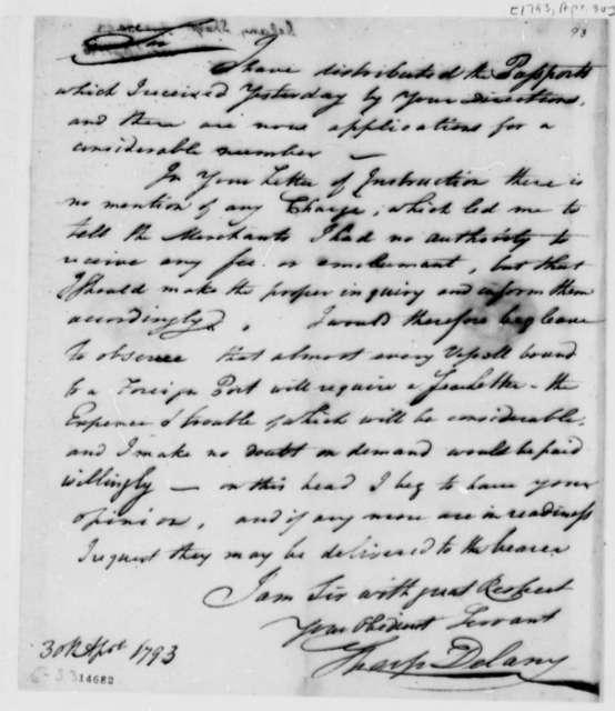 Sharp Delany to Thomas Jefferson, April 30, 1793