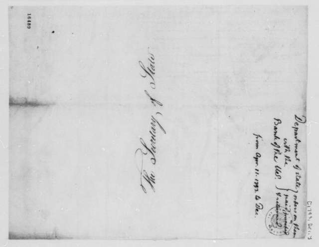 State Department, December 1793, U.S. Bank Orders