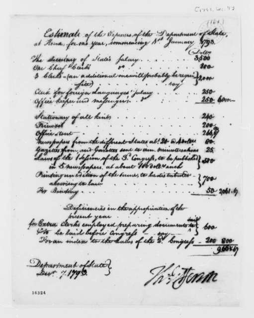 State Department, December 7, 1793, Estimate of Expenses