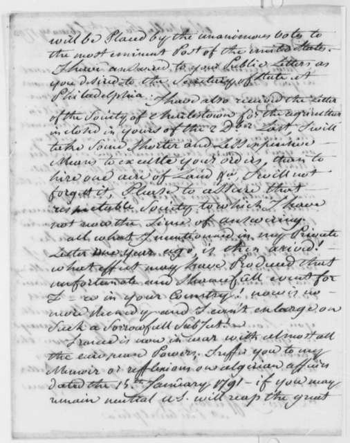 Stephen Cathalan, Jr. to Thomas Jefferson, February 27, 1793