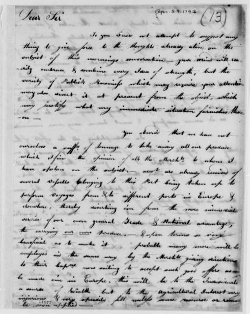 Stephen Kingston to Tench Coxe, April 29, 1793