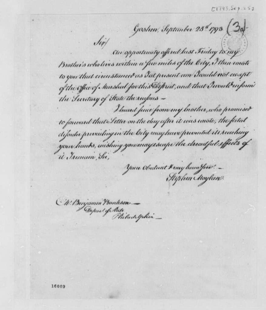 Stephen Moylan to Benjamin Bankson, September 25, 1793