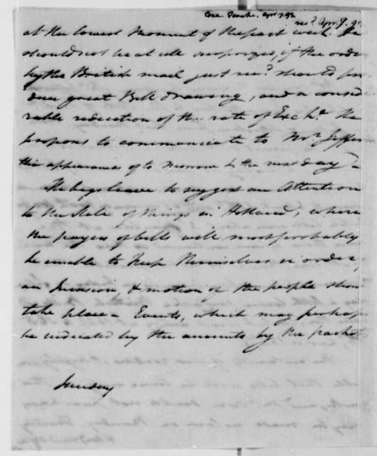 Tench Coxe to Thomas Jefferson, April 7, 1793