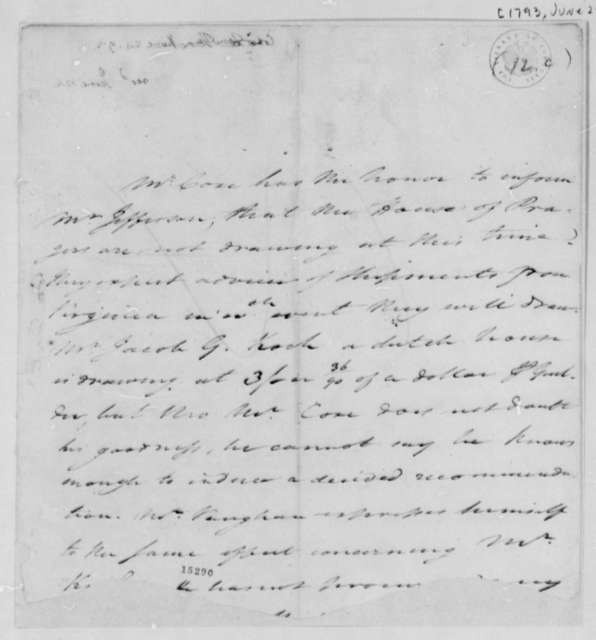 Tench Coxe to Thomas Jefferson, June 24, 1793, Fragment
