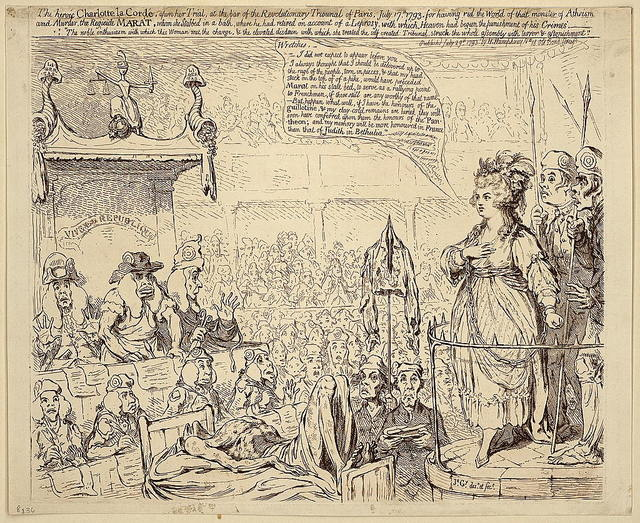 The heroic Charlotte la Cordé, upon her trial, at the bar of the revolutionary tribunal of Paris, July 17, 1793 / Js. Gy. desn. et fect.
