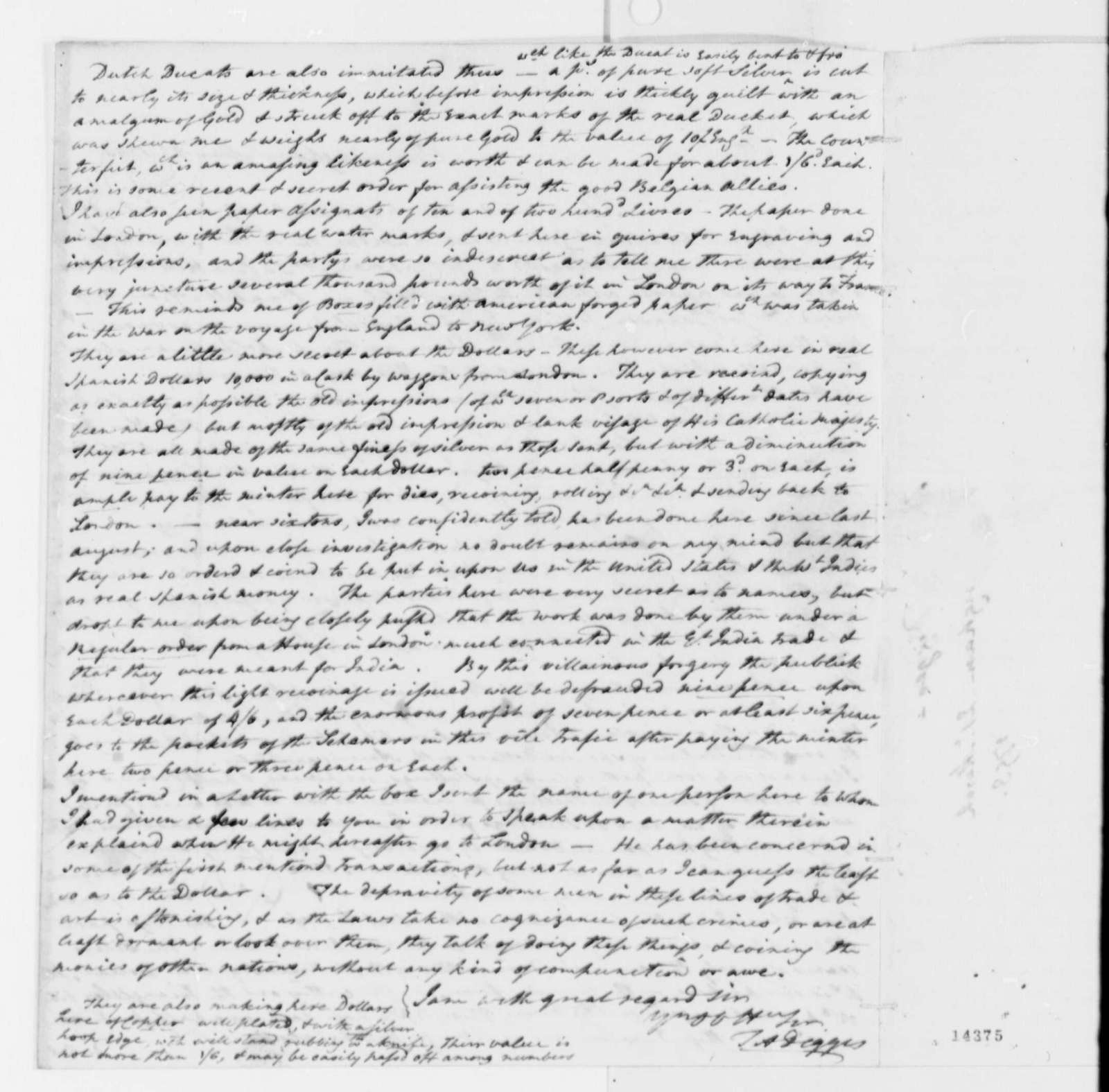 Thomas A. Digges to Thomas Pinckney, March 21, 1793