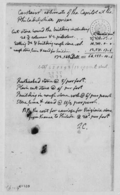 Thomas Carstairs, August 15, 1793, Estimate of Stone for Capitol