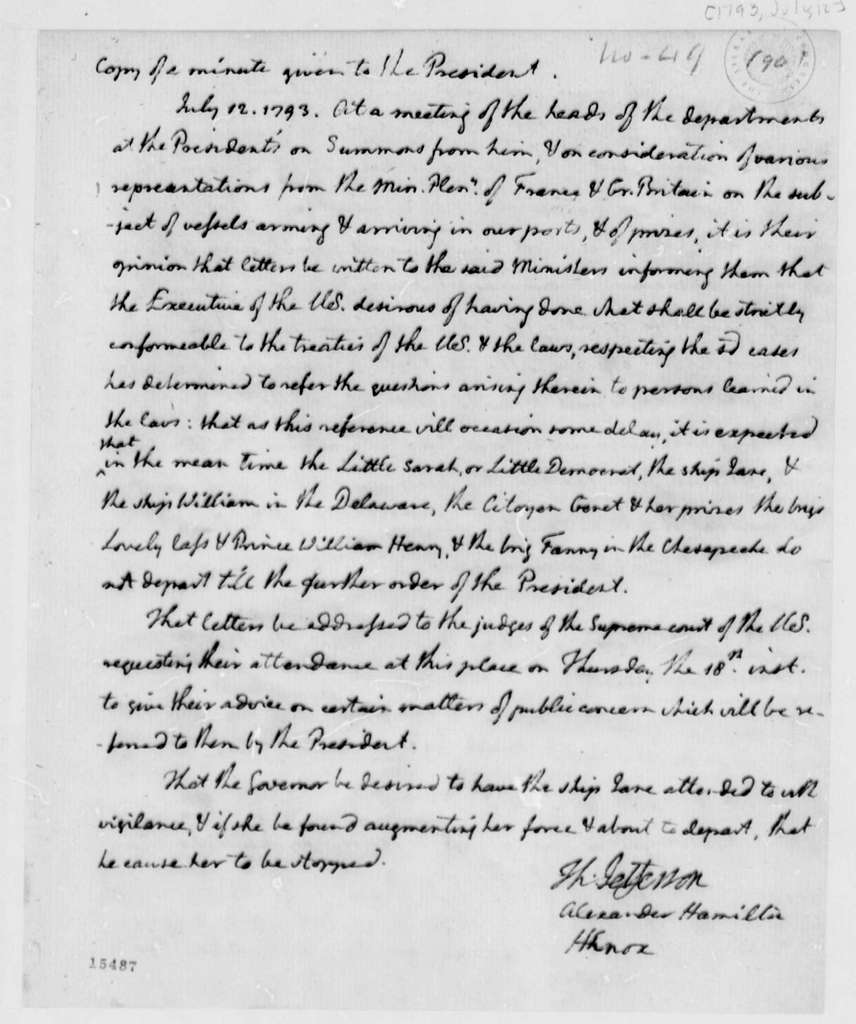 Thomas Jefferson, Alexander Hamilton, and Henry Knox, July 12, 1793, Minutes Given to President on Armed Vessels