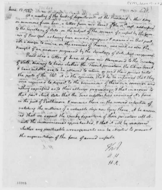 Thomas Jefferson, Alexander Hamilton, and Henry Knox, June 17, 1793, Notes on Armed French Vessel