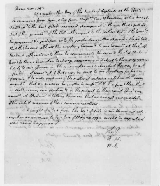 Thomas Jefferson, Alexander Hamilton, and Henry Knox, June 20, 1793, Indians and Spanish