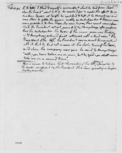 Thomas Jefferson, February 16, 1793, Notes