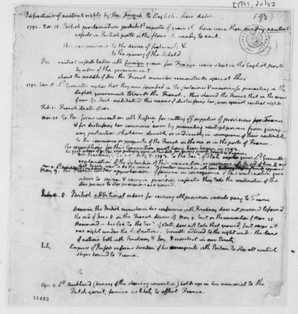 Thomas Jefferson, July 1793, Notes on Neutrality with British and French