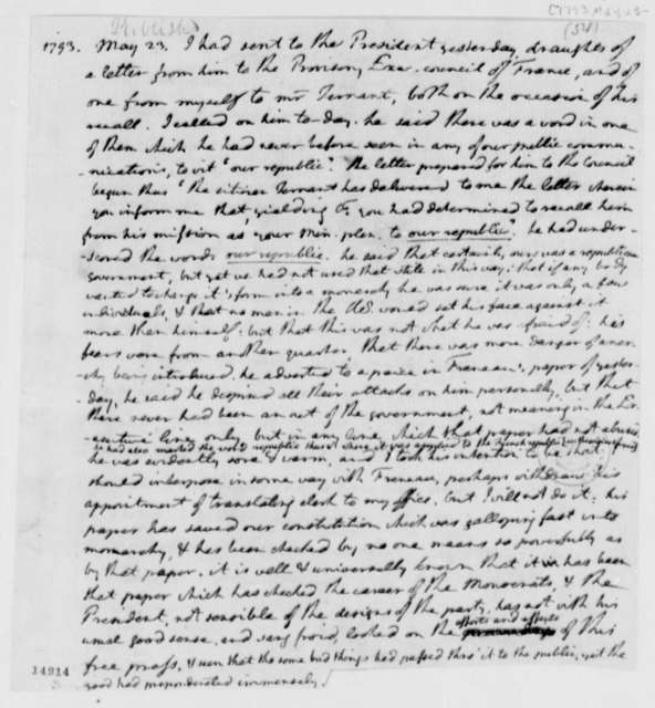 Thomas Jefferson, May 23, 1793, Comments on U.S. Republic