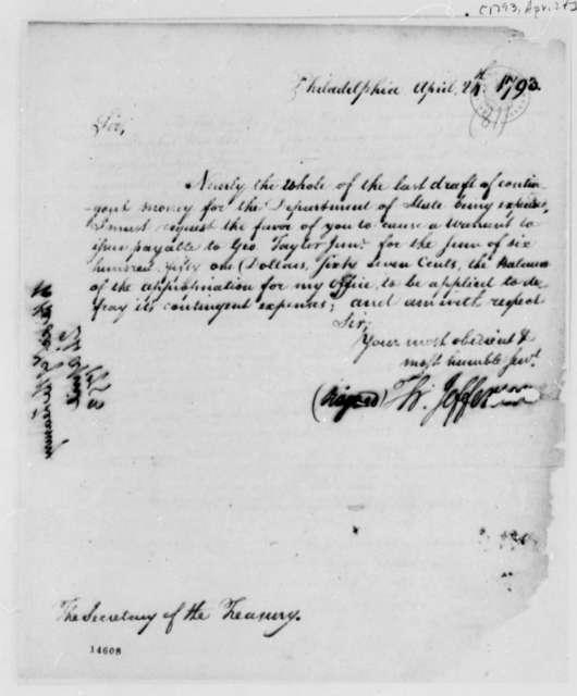 Thomas Jefferson to Alexander Hamilton, April 24, 1793