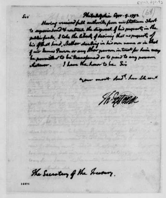 Thomas Jefferson to Alexander Hamilton, April 9, 1793
