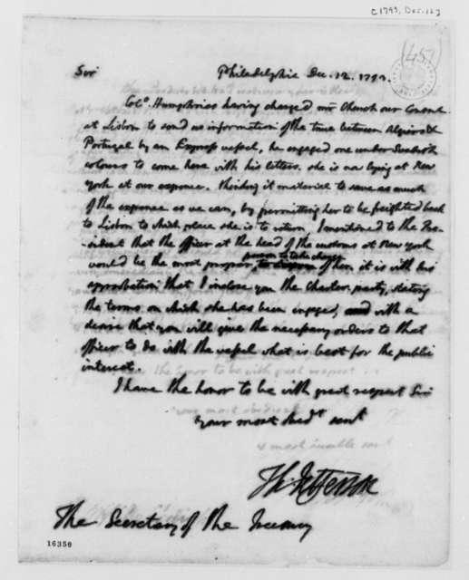 Thomas Jefferson to Alexander Hamilton, December 12, 1793