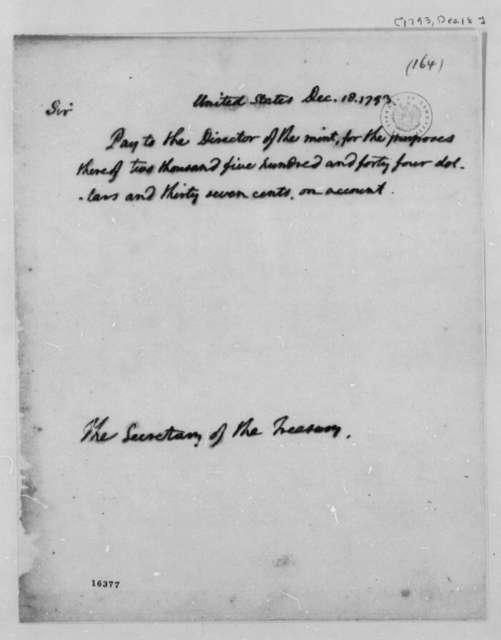 Thomas Jefferson to Alexander Hamilton, December 18, 1793
