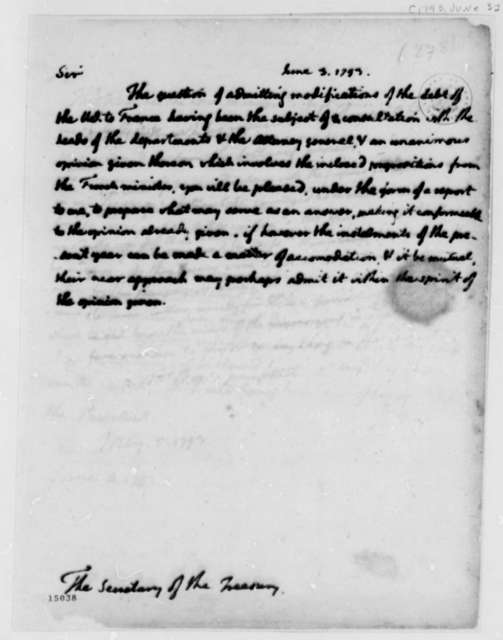 Thomas Jefferson to Alexander Hamilton, June 3, 1793