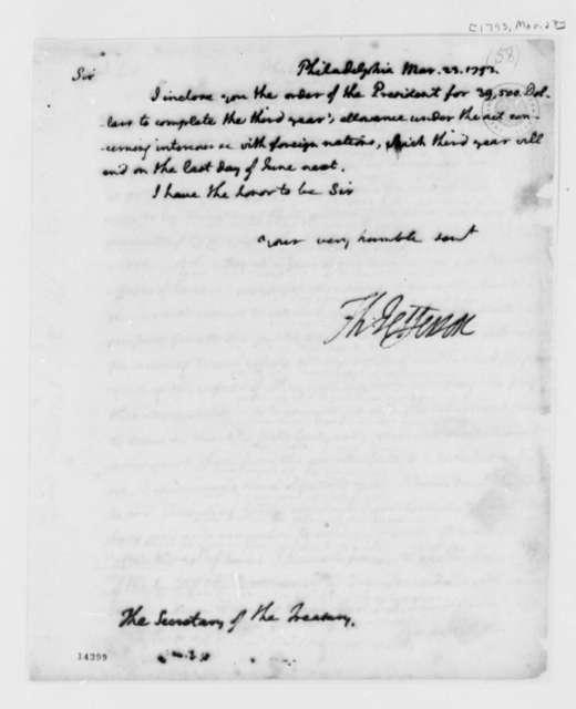 Thomas Jefferson to Alexander Hamilton, March 23, 1793