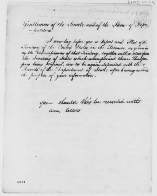 Thomas Jefferson to Andre Michaux, January 23, 1793, Report