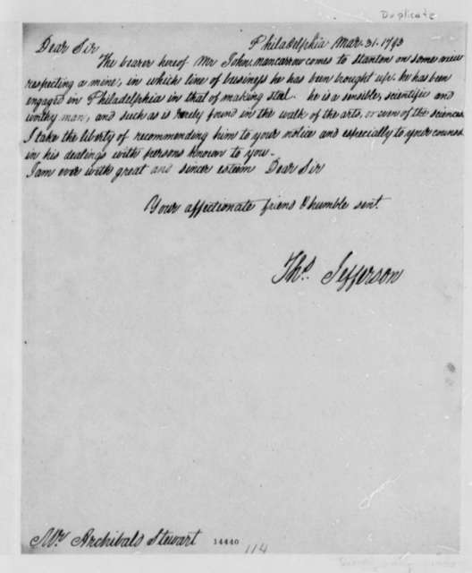 Thomas Jefferson to Archibald Stuart, March 31, 1793, with Copy