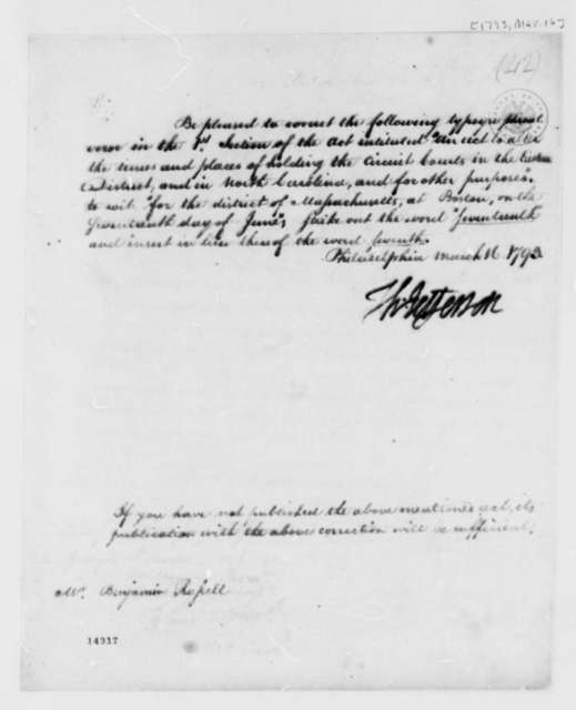 Thomas Jefferson to Benjamin Russell, March 16, 1793