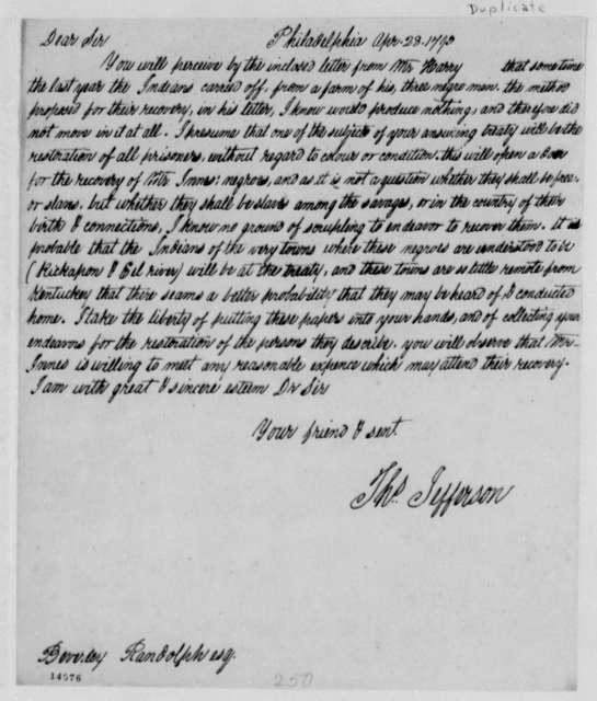 Thomas Jefferson to Beverley Randolph, April 28, 1793, with Copy