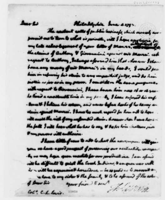 Thomas Jefferson to Charles Lilburne Lewis, June 4, 1793