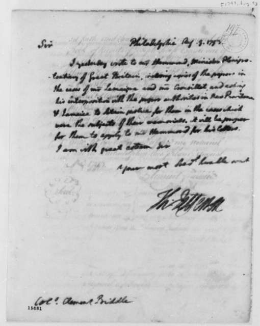 Thomas Jefferson to Clement Biddle, August 9, 1793