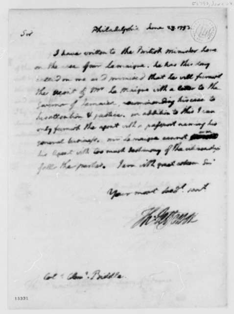 Thomas Jefferson to Clement Biddle, June 28, 1793